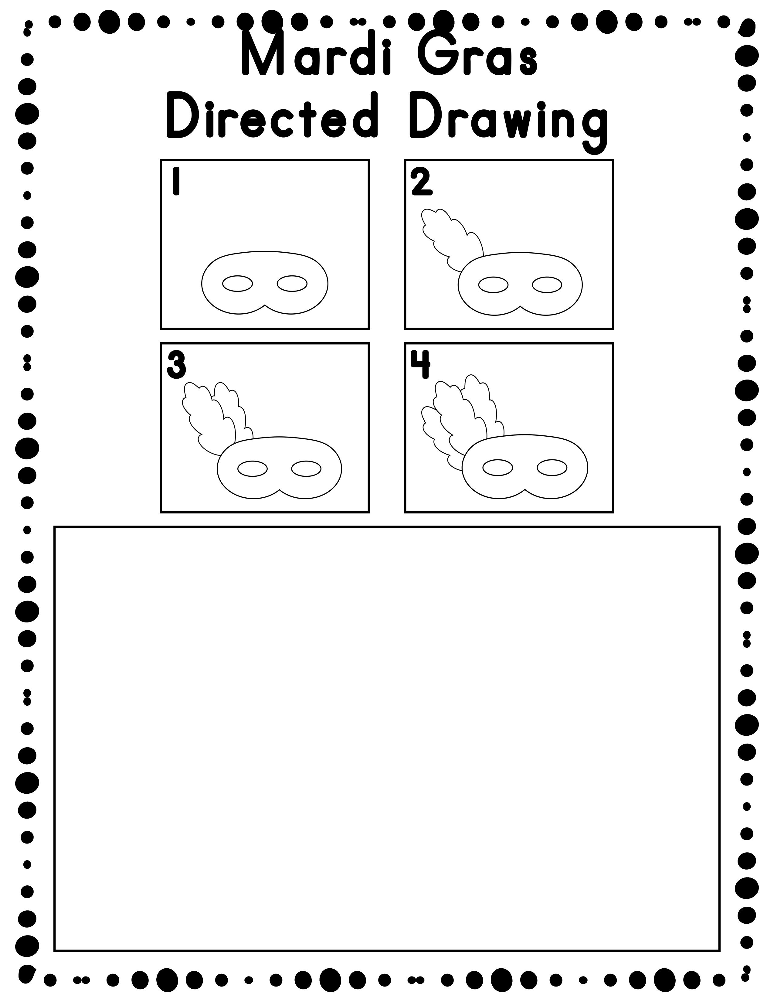 Mardi Gras Directed Drawing Activity For Including Art In