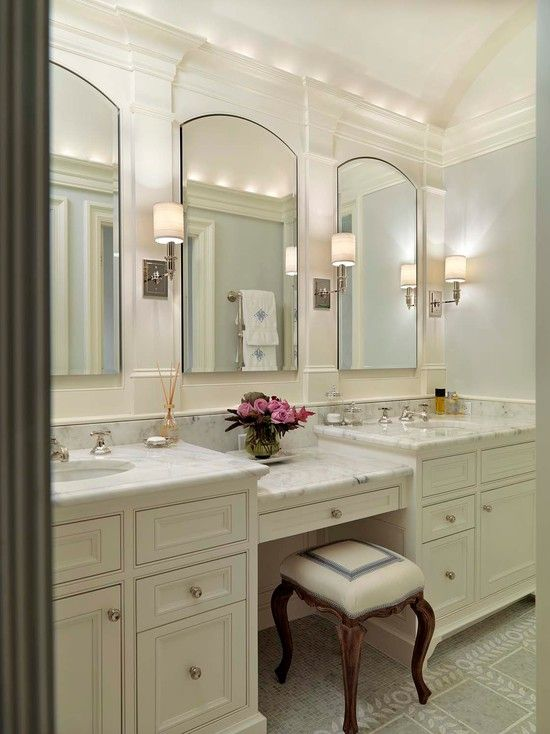 Brilliant 3 Arched Mirrors Over Two Sinks With Sconces In Between Download Free Architecture Designs Aeocymadebymaigaardcom