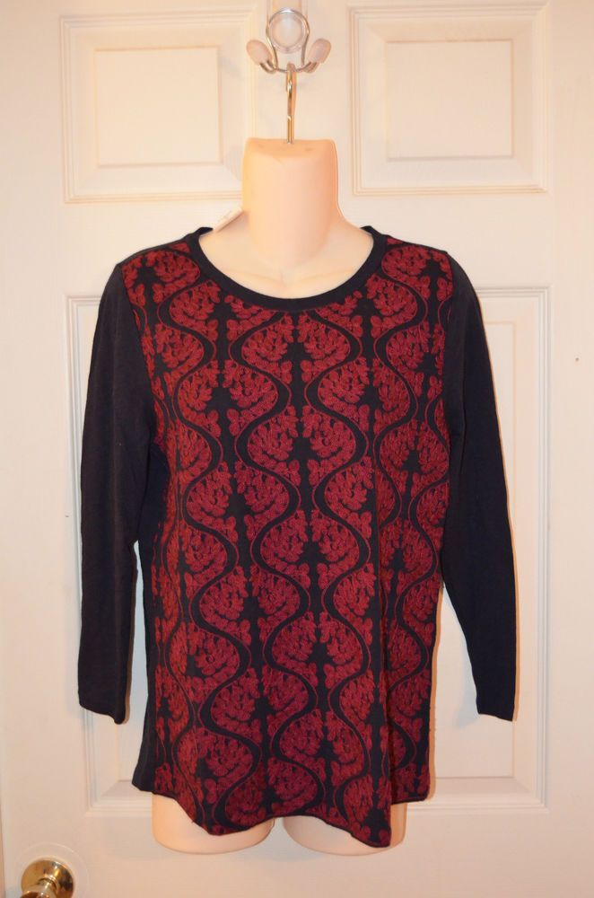 J.Crew Ladies Maroon and Navy Embellished Top-Size M-BNWT #JCrew #KnitTop #Casual