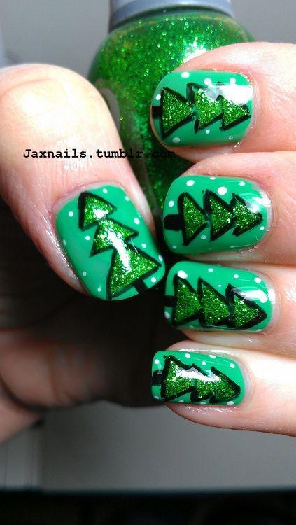 Christmas Tree Nails   uñas   Pinterest   Diseños de uñas navidad ...