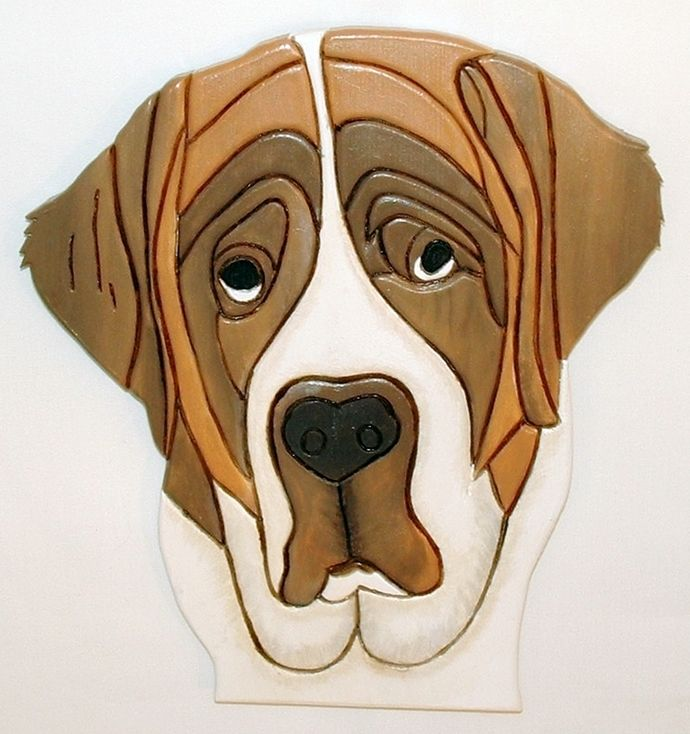 Rustic Wood Sculpture Dog, This St. Bernard a Wondeful Wood Wall hanging. This Wood Wall Art is Intarsia Wood Art. by GalleryatKingston, $80.00 USD