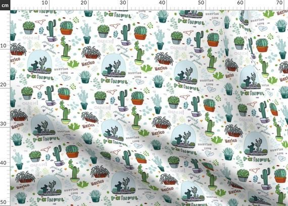 Photo of Cactus Snowglobes Winter Decorations Fabric – Cactus, Mexico By Innaogando – Desert Winter Cotton Fabric By The Metre by Spoonflower