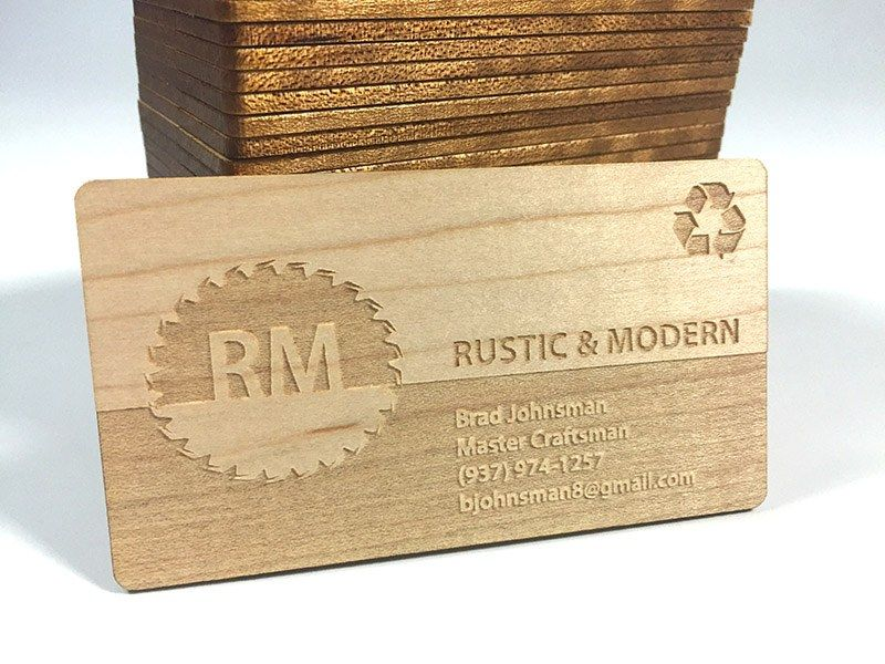 Wood Business Card With Half Being An Inverse Engraved