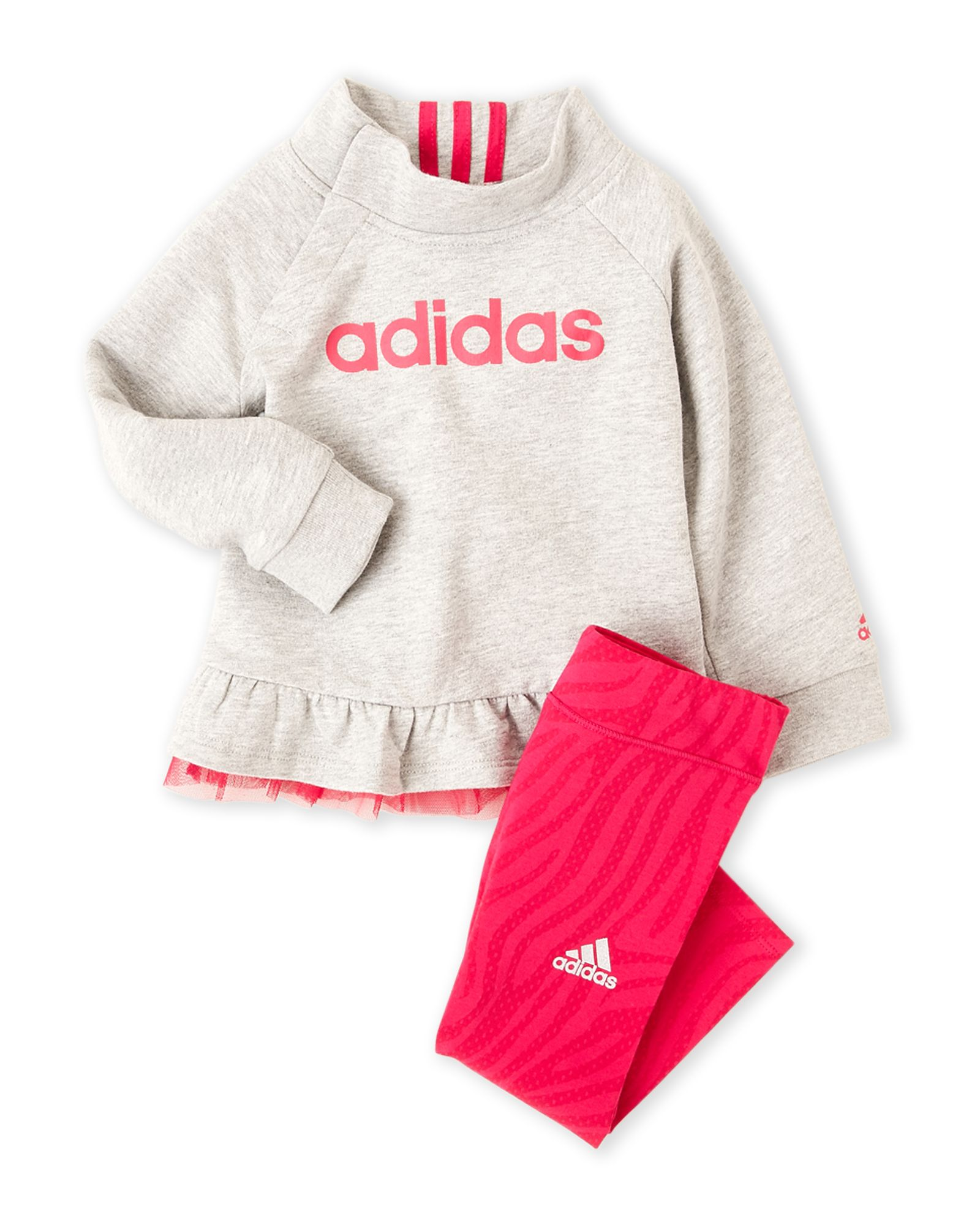 65910e654 Adidas (Newborn/Infant Girls) Two-Piece Ruffled Sweatshirt & Leggings Set