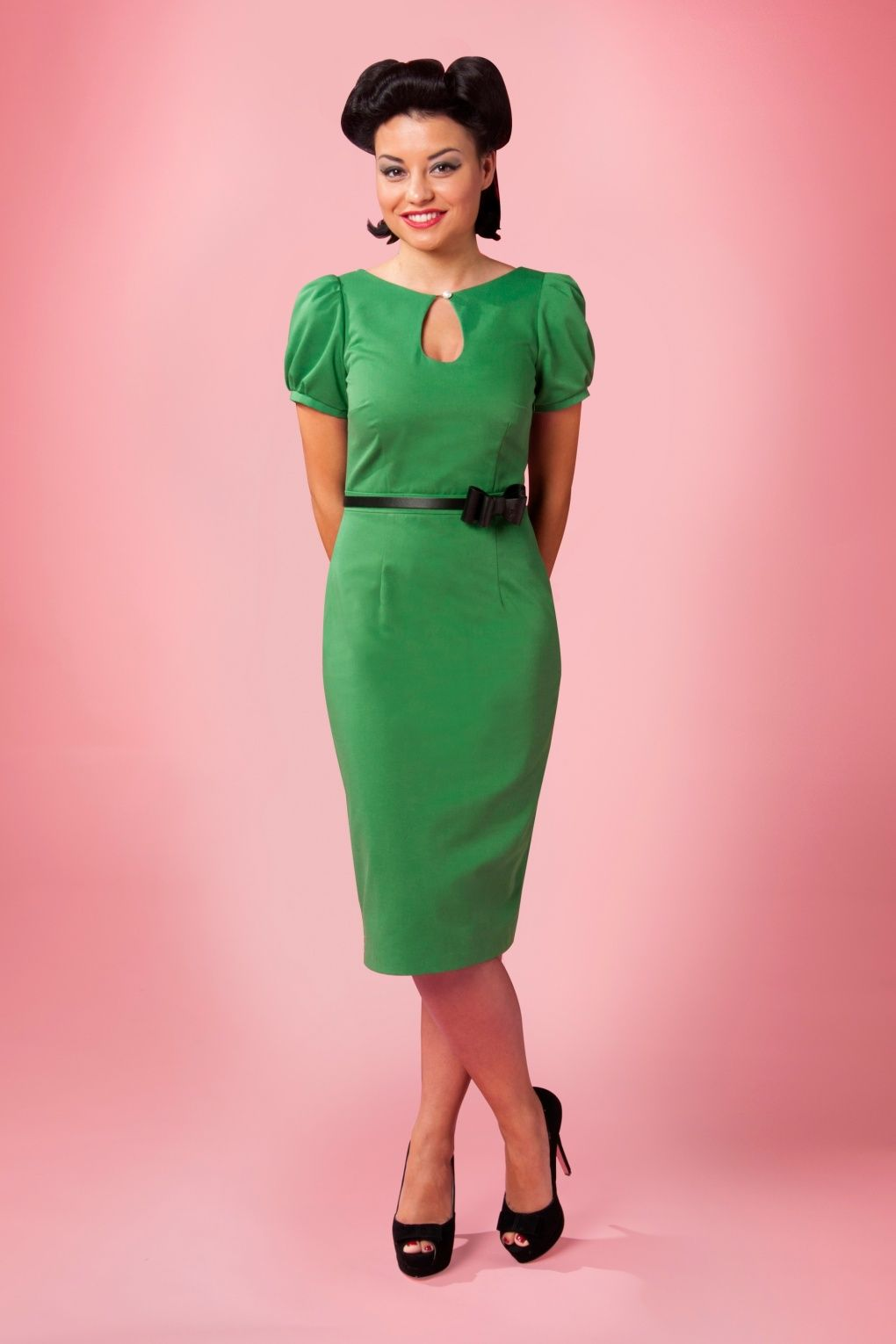 Red Juliet Couture - 40s Sylvia keyhole pearl pencil dress vintage ...