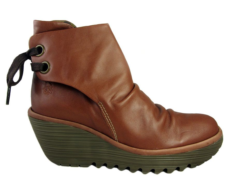 02ea57800 Fly London women's cognac brown colour leather wedge heel ankle boots.  Soft, supple leather