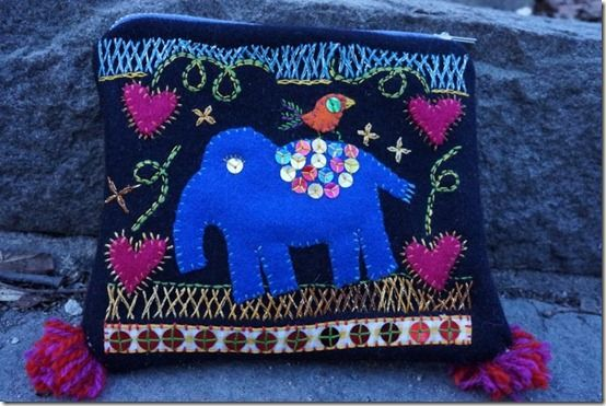 Embroidered elephant pouch made of woolen felt
