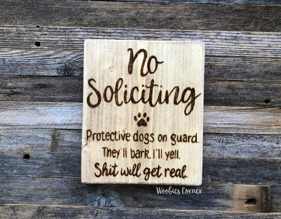 No soliciting dog sign, Funny no soliciting signs, Protective dog sign, Do not disturb sign, Wood no soliciting sign, Do not knock sign