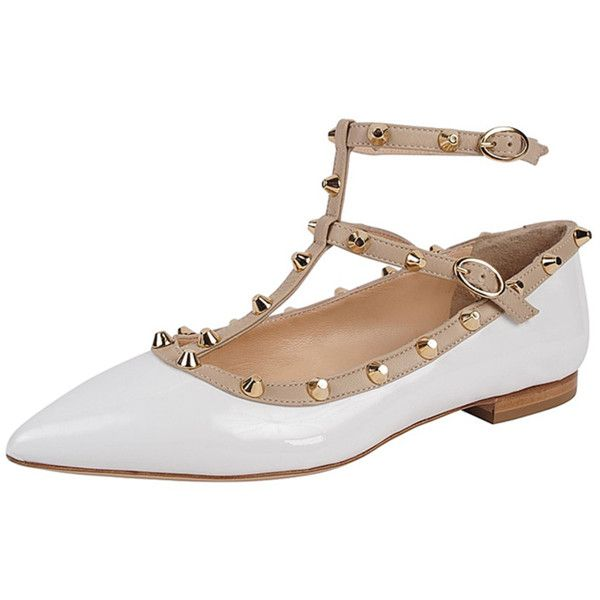 4a64ed4a30146 Mivida Studded T-Strap Flat (384048202) ($149) ❤ liked on Polyvore  featuring shoes, flats, white, pointed-toe ankle-strap flats, gold shoes,  gold flat ...