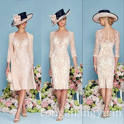 2 Pieces Pink Lace Mother Of Bride Dress Jacket Chiffon Knee-length ...