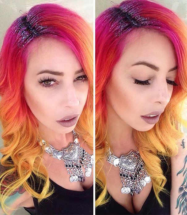 Glitter na raiz dos cabelos coloridos é a nova tendência no Instagram