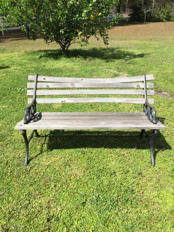 Antique Or Vintage Park Garden Bench Cast Iron Sides Wood Garden