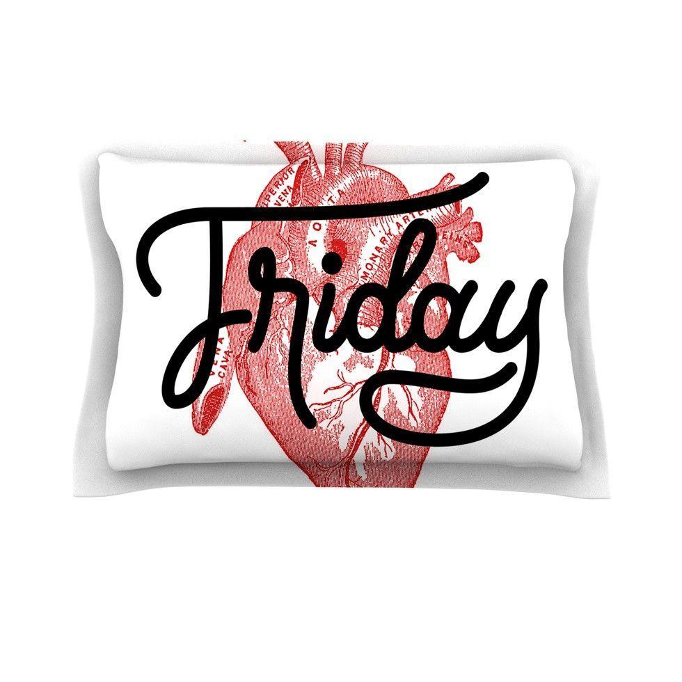 """Roberlan """"Friday"""" Red Heart Pillow Sham"""