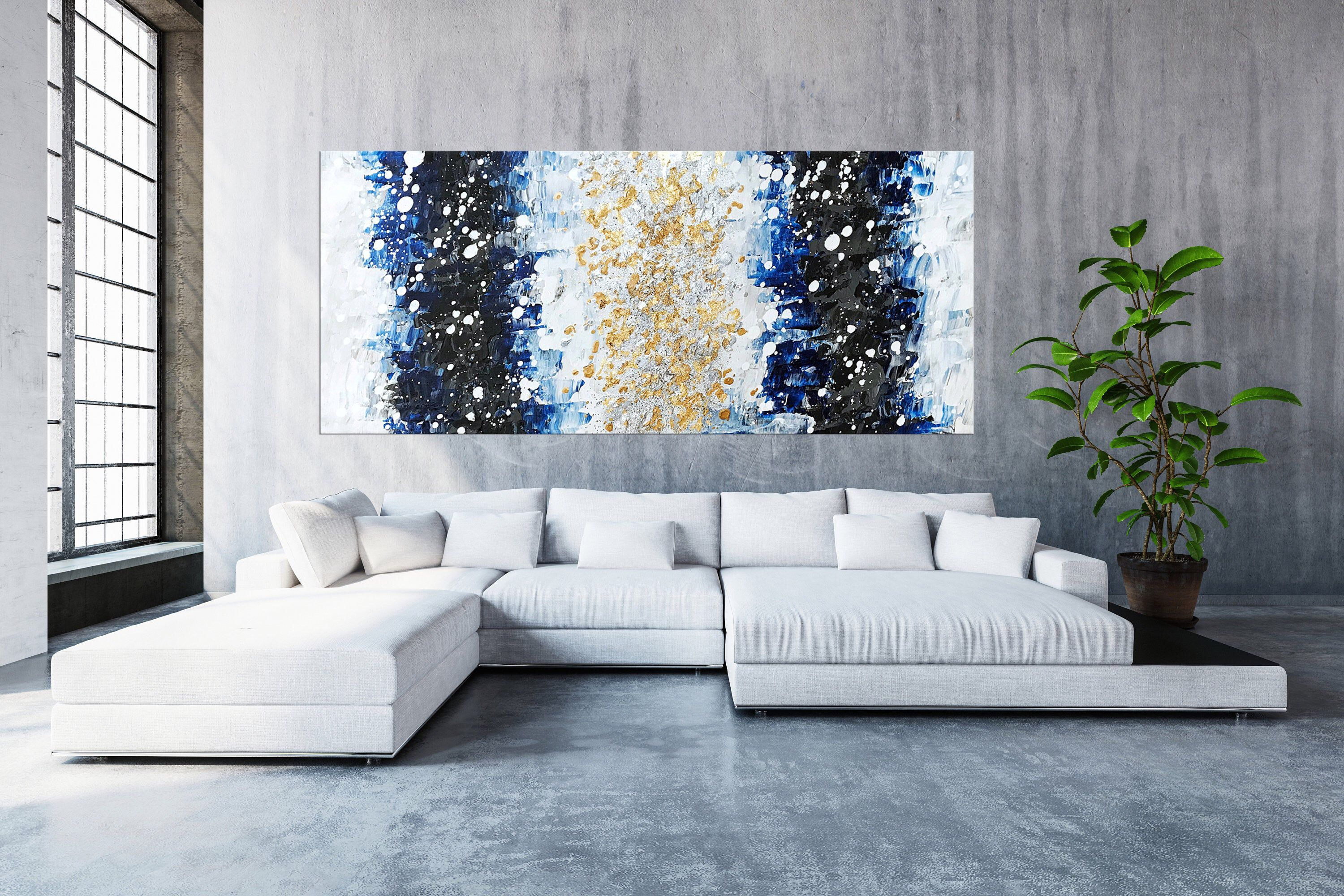 Blue abstract gold silver wall art extra large oversize