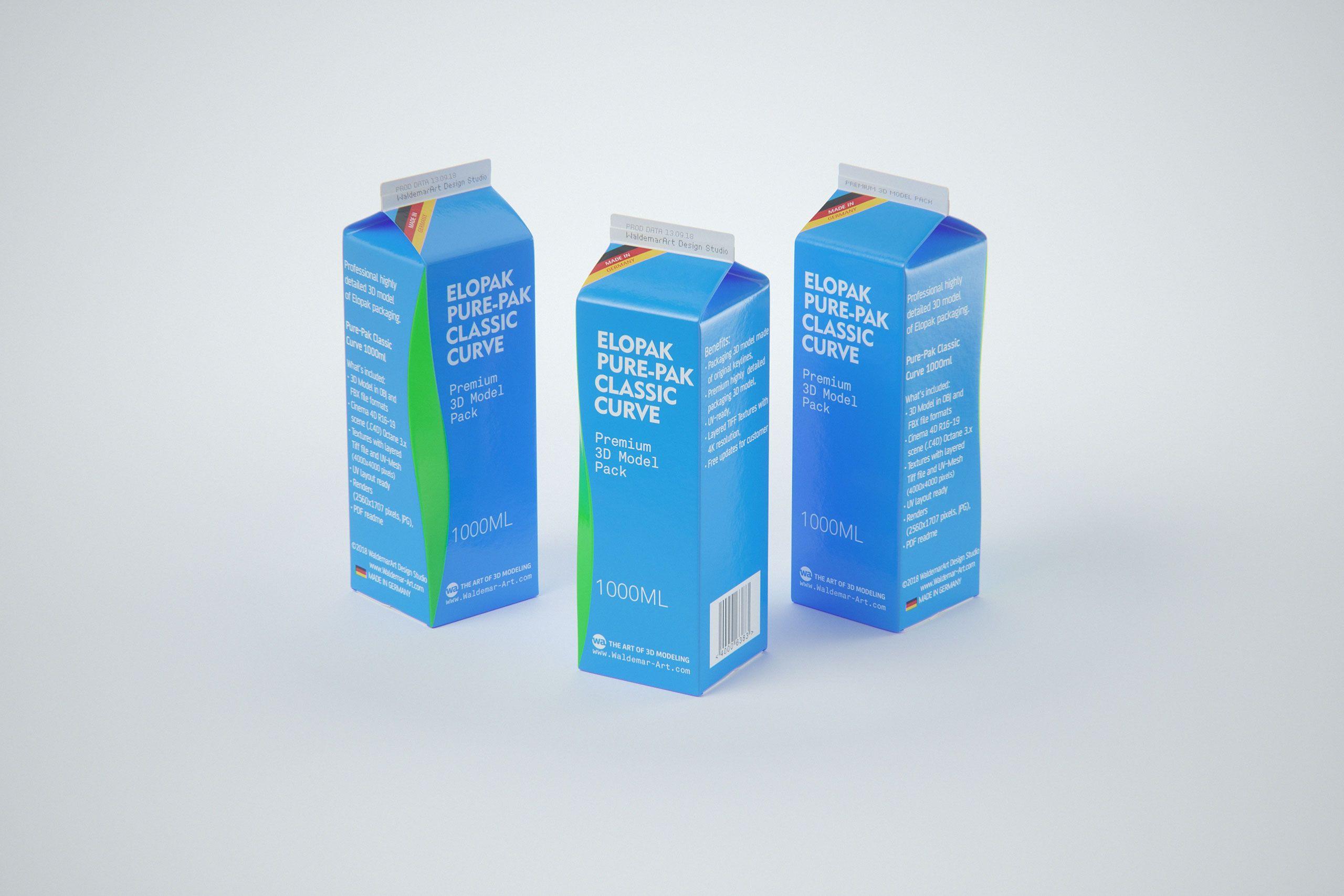 Elopak Pure-Pak Classic CURVE 1000ml (no opening) Premium carton