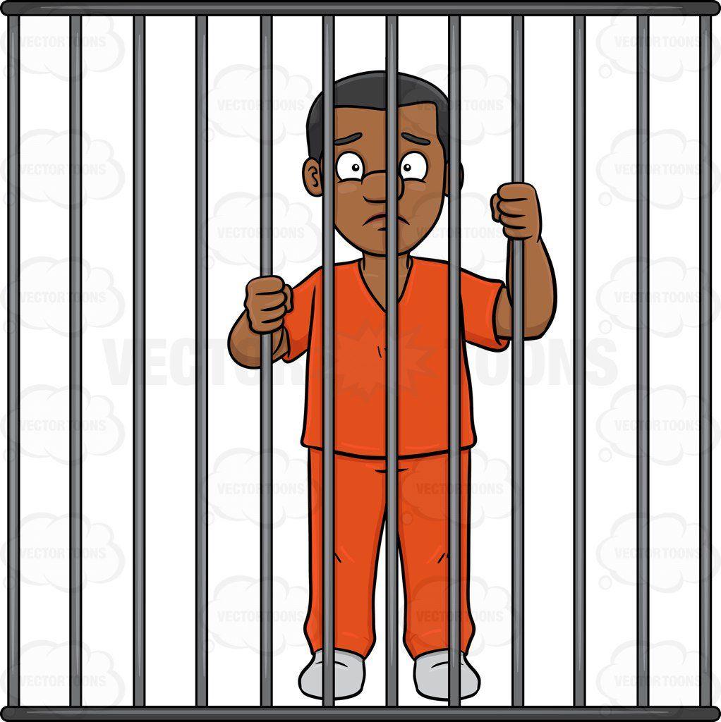 A Black Man Behind Bars Cartoon Clip Art Bear Coloring Pages Behind Bars