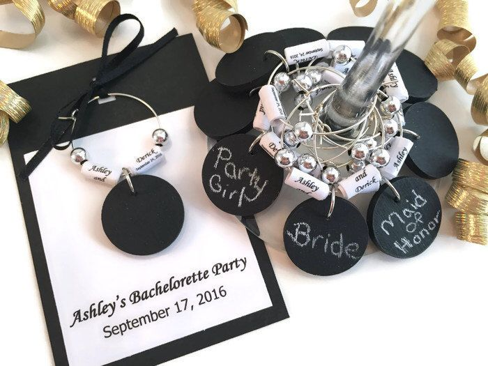 Personalized Bachelorette Party Favors, Bachelorette Party Wine Charm Favors, Chalkboard Wine Glass Charms With Personalized Paper Beads by AtHomeWithWords on Etsy https://www.etsy.com/listing/291863017/personalized-bachelorette-party-favors