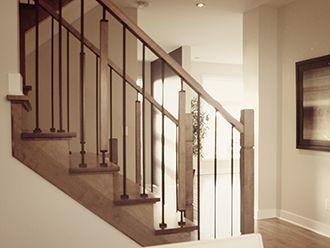 Bois franc rive sud salon pinterest rampe escalier for Rampe escalier bois interieur