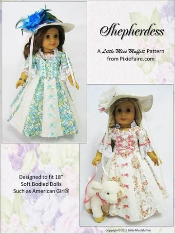 Shepherdess 18 Doll Clothes Pattern #historicaldollclothes