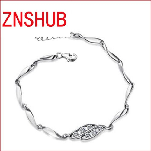 925 sterling silver bracelets new fashion simple natural zircon crystal bracelet female heart wrist jewelry wholesale