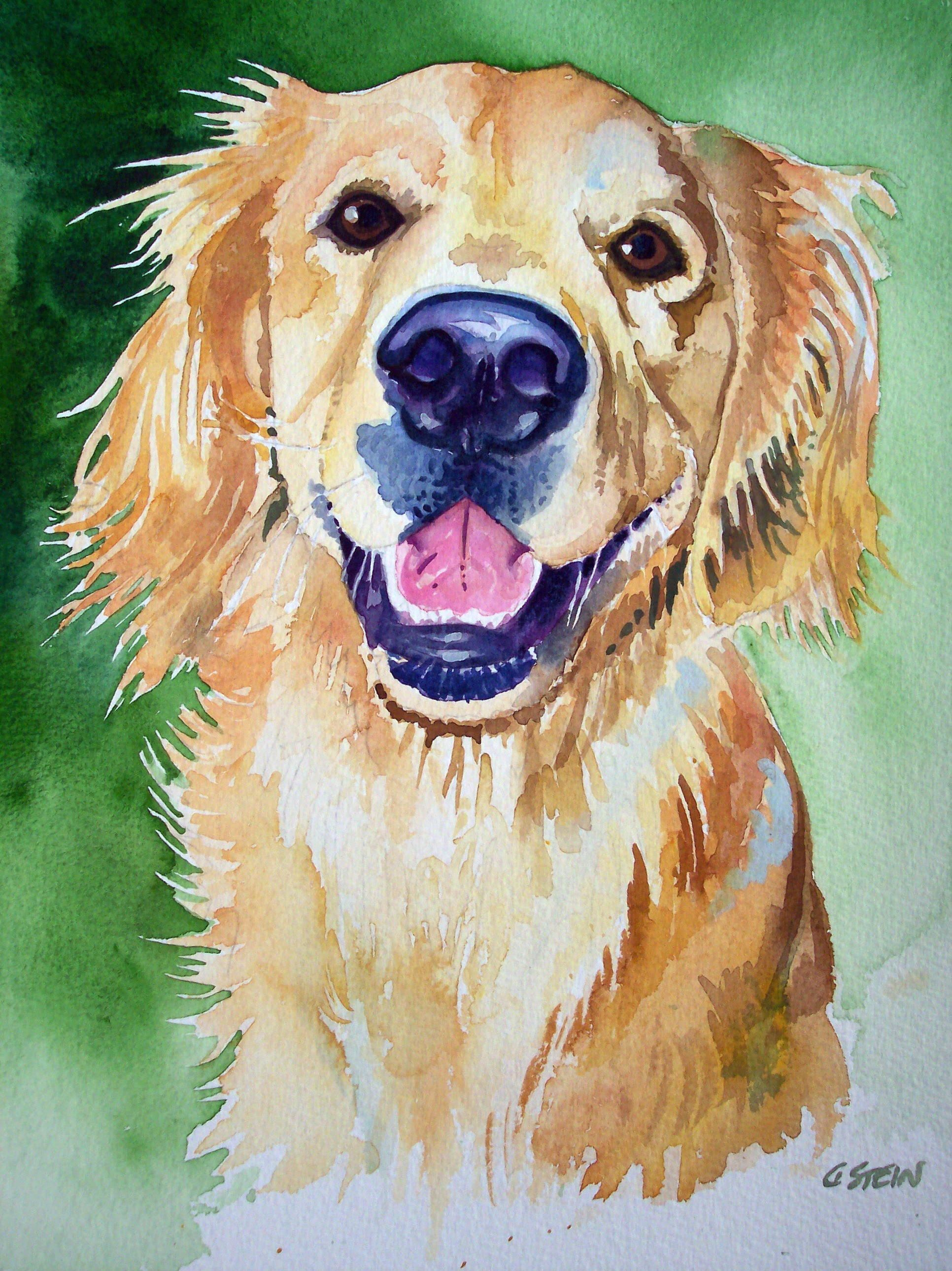 Golden Retriever Watercolor Golden Retriever Painting Golden