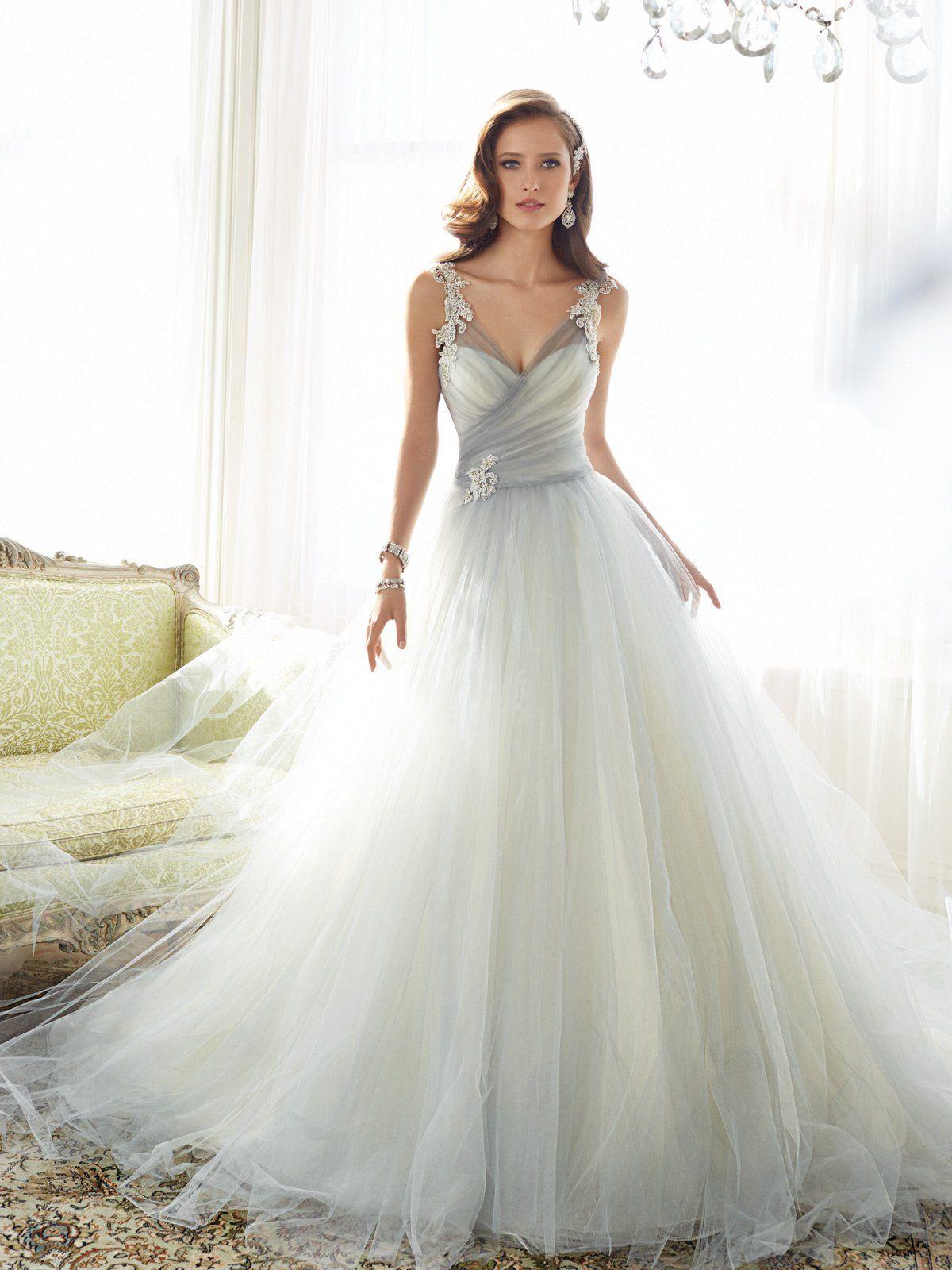 Gray mist soft tulle wedding dress ball gowns pinterest