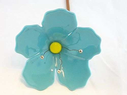 Garden Stakes Turquoise Blue Fused Glass Hibiscus Flower Plant Stake