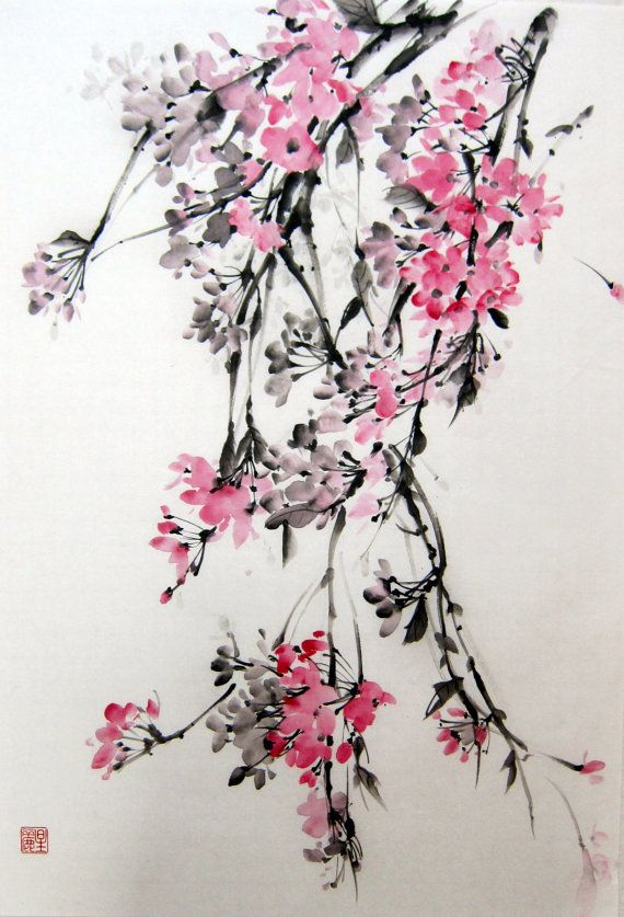 Weeping Cherry 2 Japanese Ink Painting Suibokuga Sumi E Brush Painting Pink Flowers Rice Paper Painting Large17x24 Inch Japanese Ink Painting Cherry Tree Tattoos Ink Painting