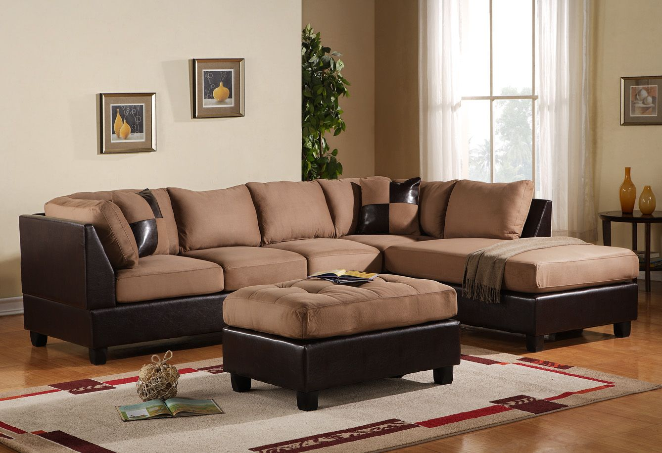 Interior Modern Vintage Living Room Design Espresso Platform Tan Brown Big Pillow Square Microfiber Sectional Sofa Sectional Sofa Couch Leather Couch Sectional
