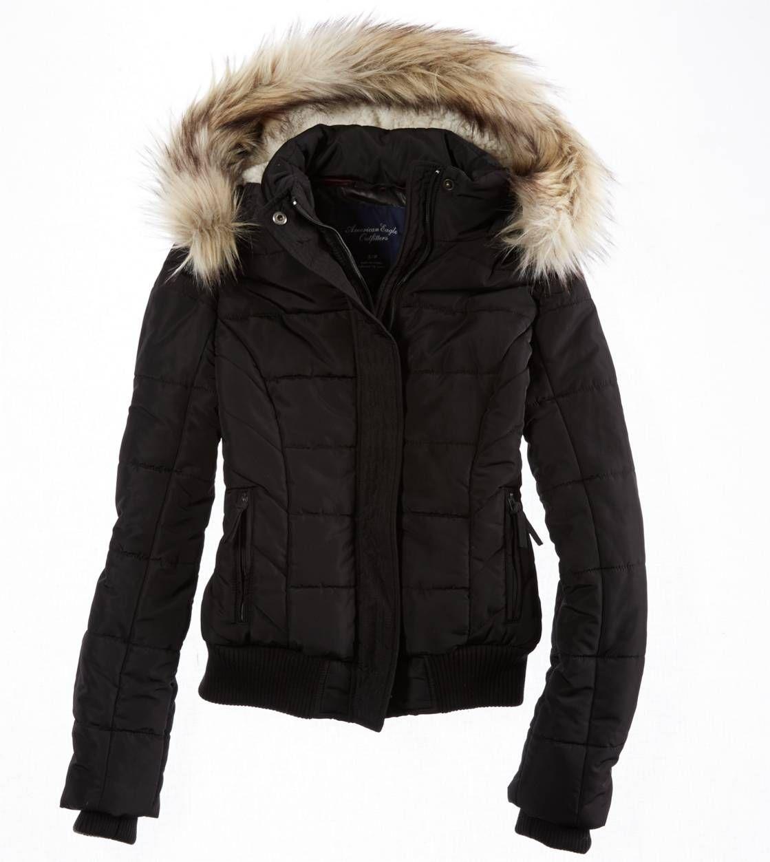 AE Cropped Puffer   Black puffer coat, American eagle ...