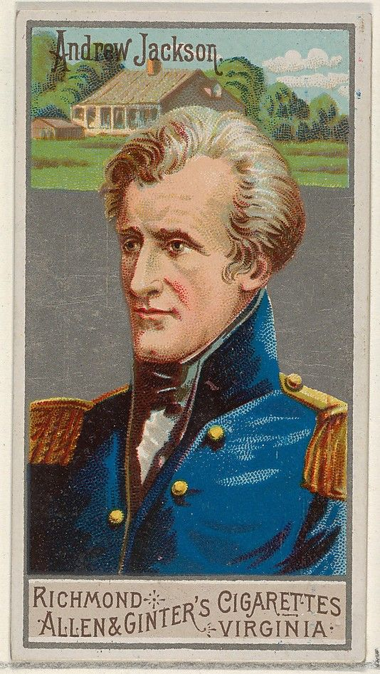 Andrew Jackson (15.3.1767|8.6.1845) Seventh President of U.S (1829|1837). Born in what is now the border between North + South Carolina, Jackson served in the militia during the American Revolutionary War. in 1796 played a role in the founding of the state of Tennessee. Subsequently elected to the U.S. House of Representatives, +then U. S. Senate. In 1801 appointed colonel in the Tennessee Militia.
