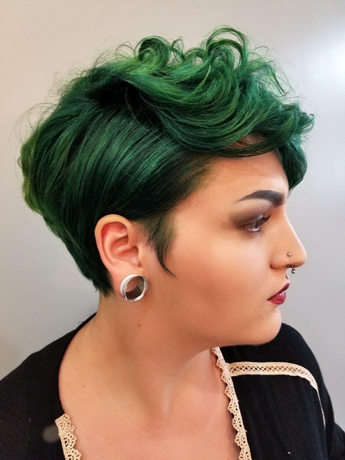 green hair vibrant hair short hair for women pixie cut aveda