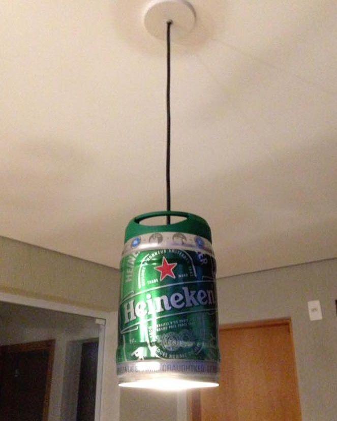 Luminaria Feita Com Barril De 5 Litros Da Cerveja Heineken