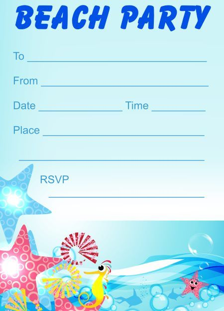 Beach Party Invitations Free printable kids party invites from – Beach Themed Party Invitations