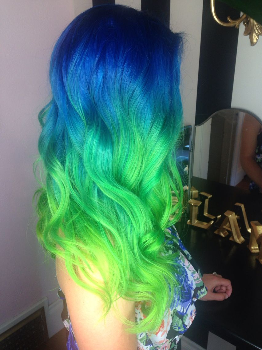 Blue green neon Aqua hair color ombré melt