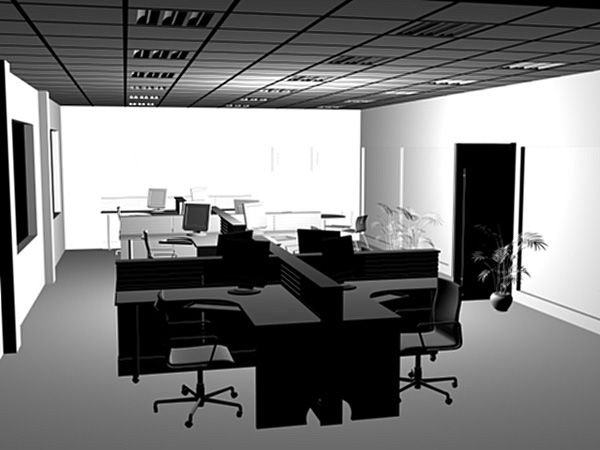 Modern office furniture interior workstations comp, (.3ds