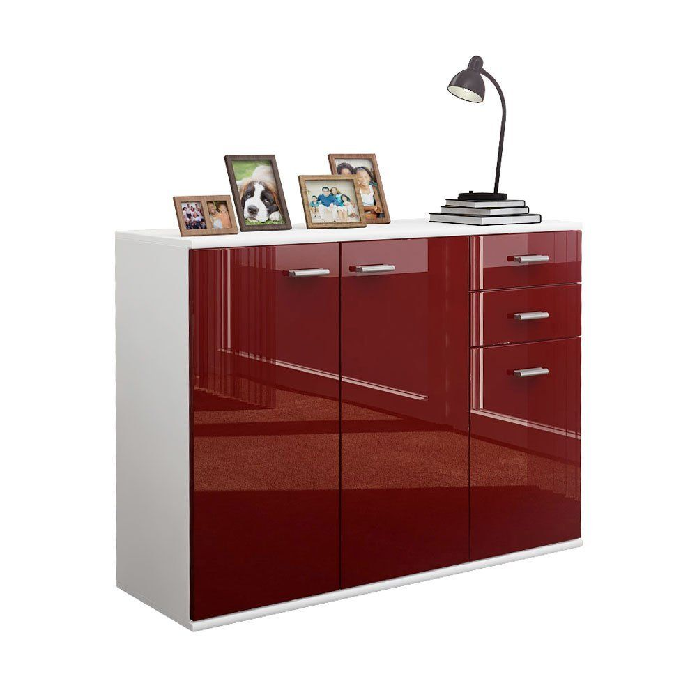 Küche Sideboard Weiß Sideboard Kommode Solo V3 In Weiß Bordeaux Hochglanz Amazon De