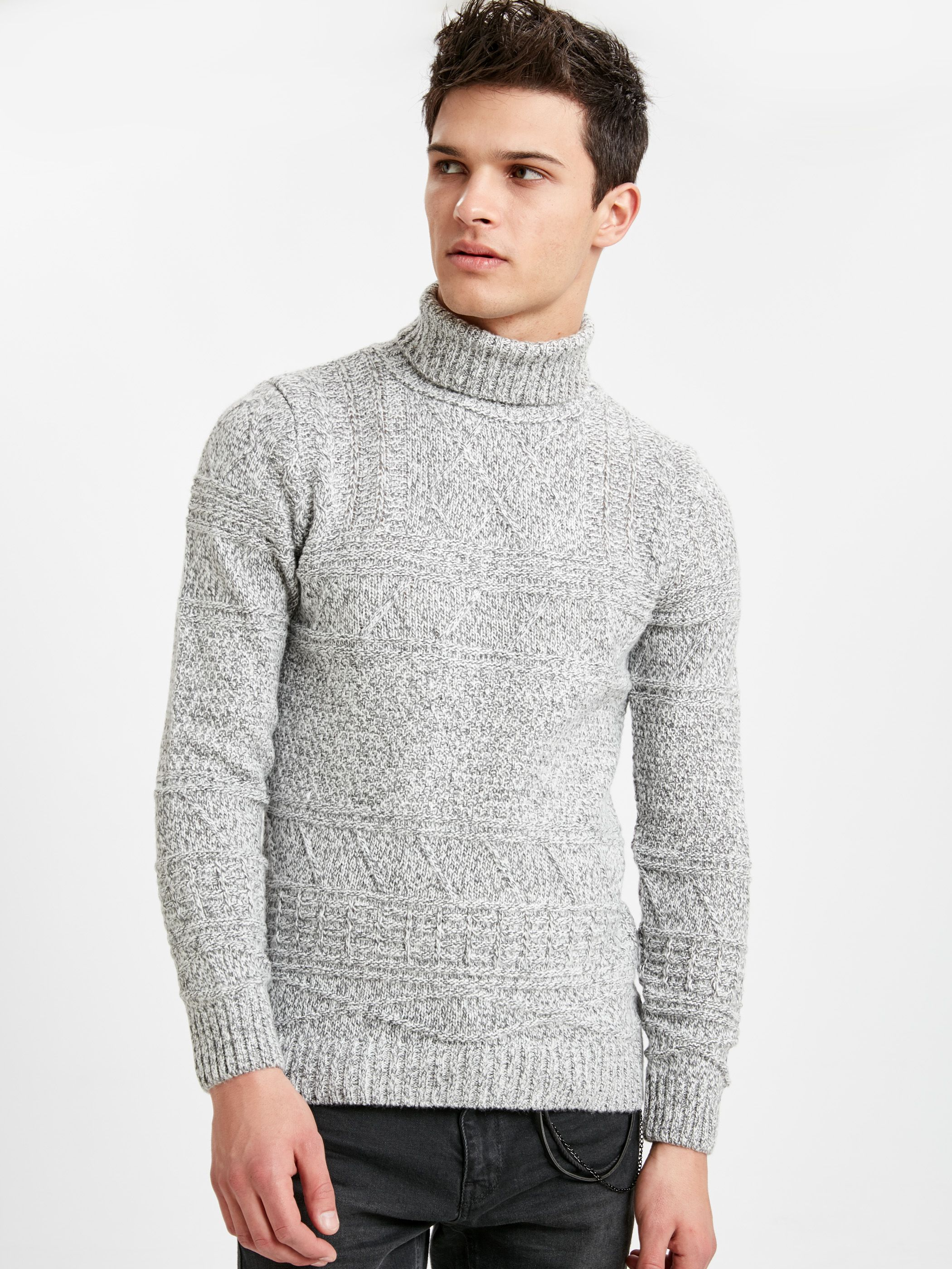 YUNY Mens Fashion Classic Rib Solid Mock Neck Pullovers Sweater Brown M