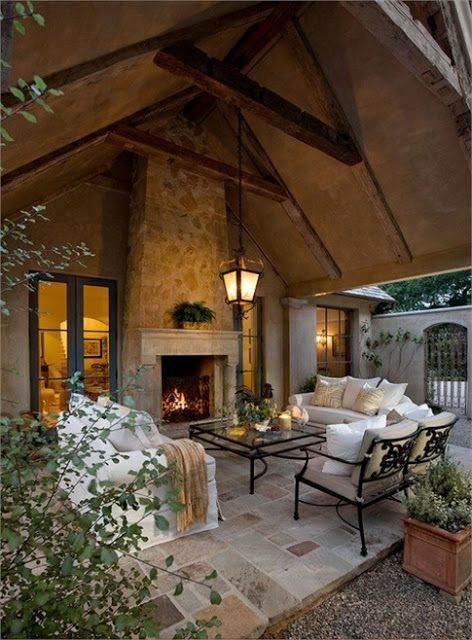 40 Stone Fireplace Designs From Classic To Contemporary Spaces Modern Outdoor Living Space Modern Outdoor Living Patio