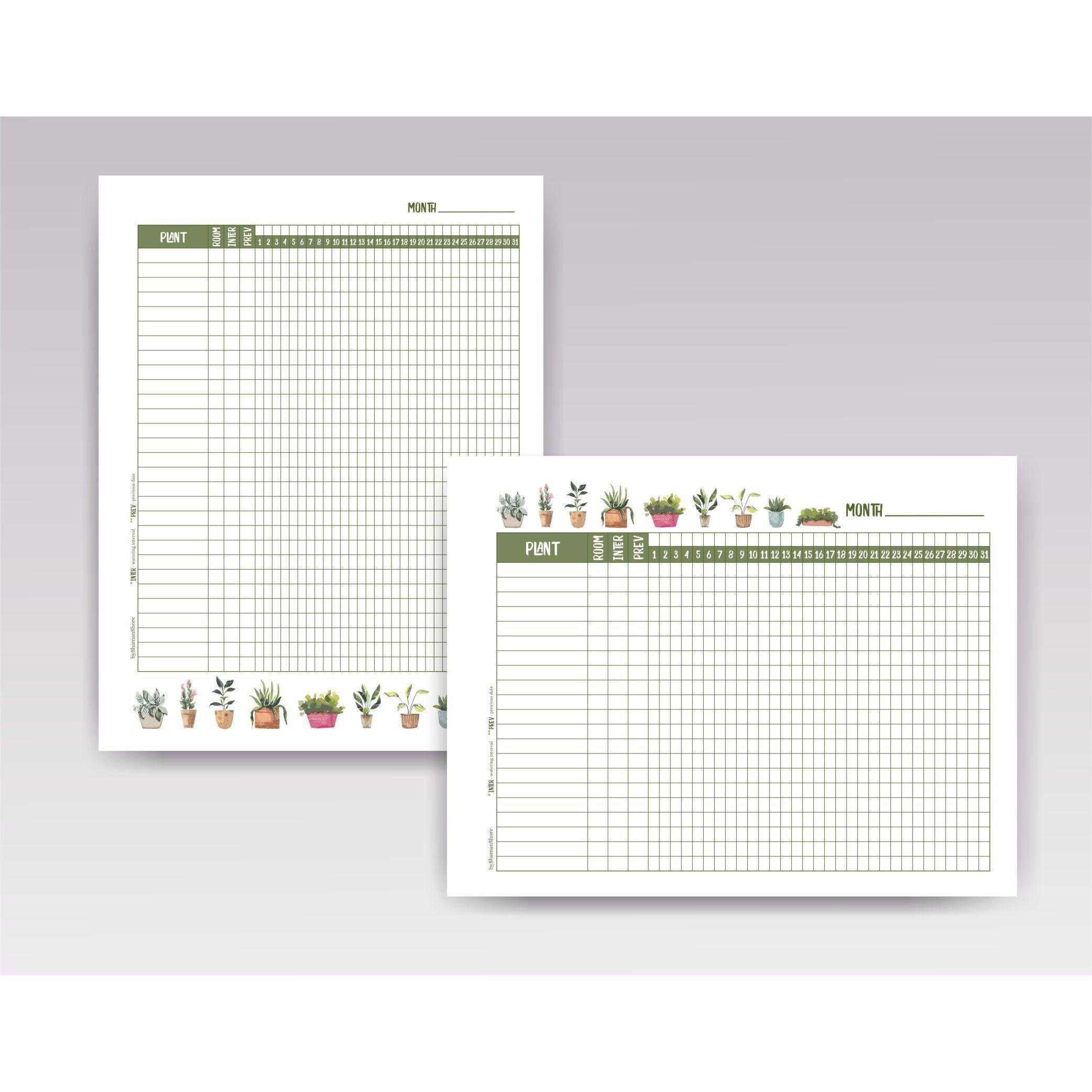 Plant Watering Schedule Template Printable Plant Watering