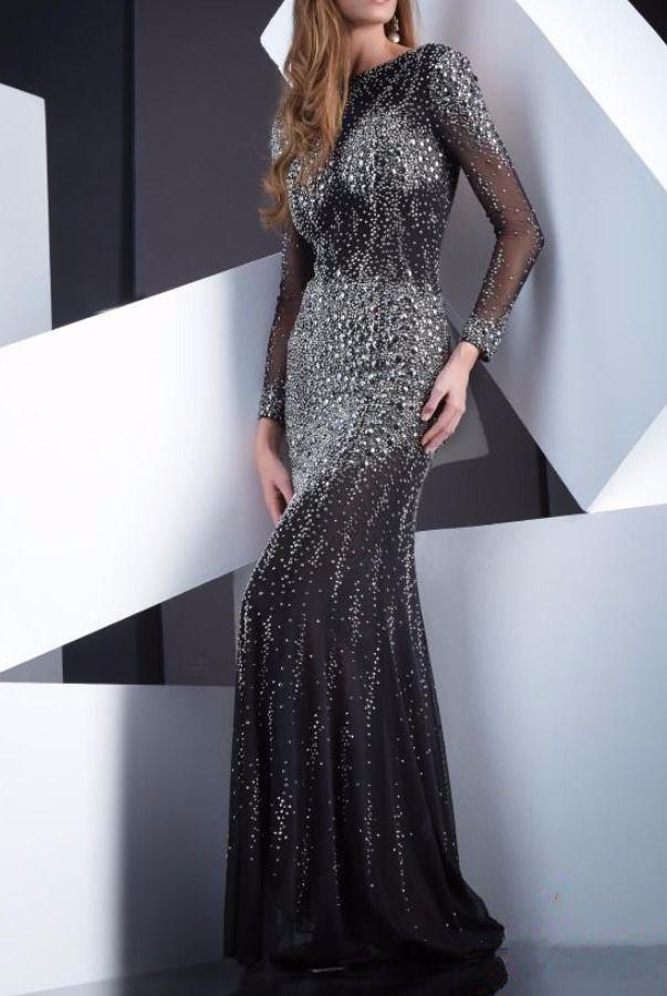 Jasz Couture Black Diamond Encrusted Long Sleeve Dress Gown Black