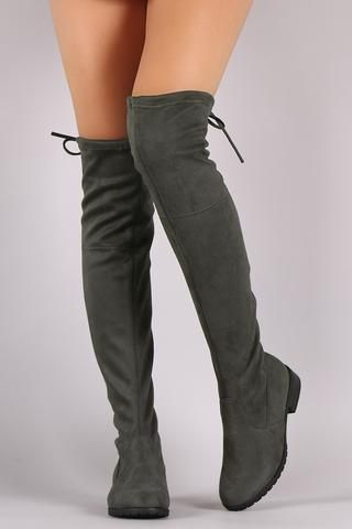 34913389ab2 Suede Drawstring-Tie Riding Over-The-Knee Boots