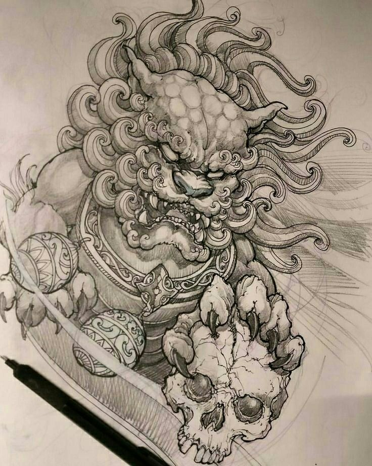 Ki Lan Foo Dog Tattoo Design Foo Dog Tattoo Japanese Tattoo Art