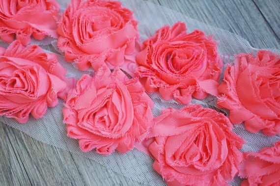 "1//2 yard OR 1 yard Light pink 1//2/"" tiny shabby chiffon rose trim"