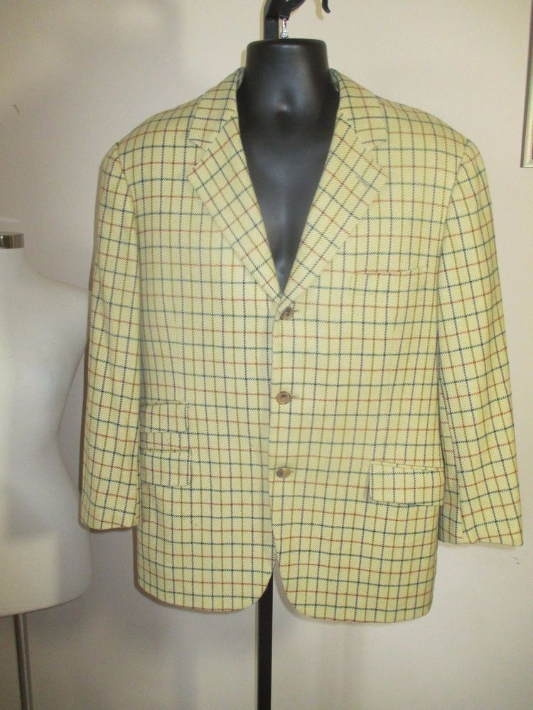 5e900f832 #vintage #HERMES mens WOOL CASHMERE 3-button BLAZER size 42 windowpane  check PLAID #Hermes #ThreeButton
