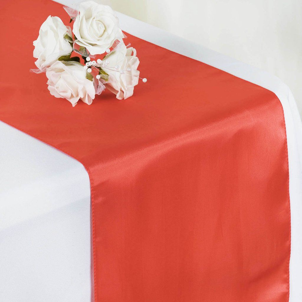 12 X108 Coral Satin Table Runner In 2020 Wedding Catering Near Me Red White Weddings Wedding Catering Prices