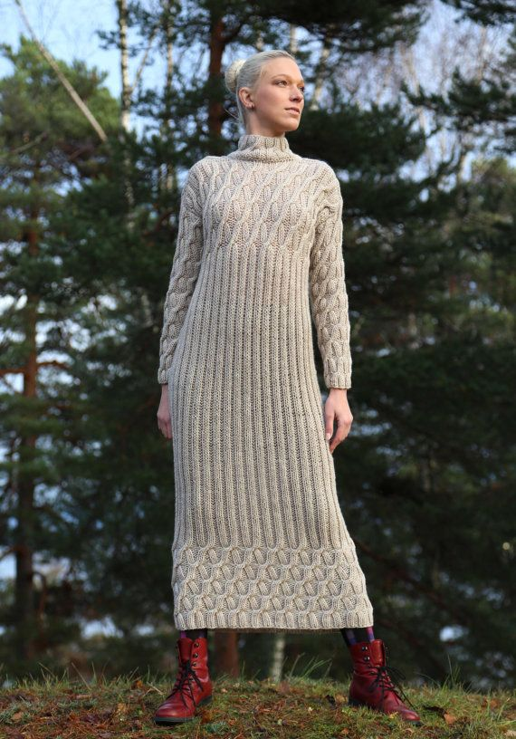 PDF pattern. Hand knitted long dress with long by ...