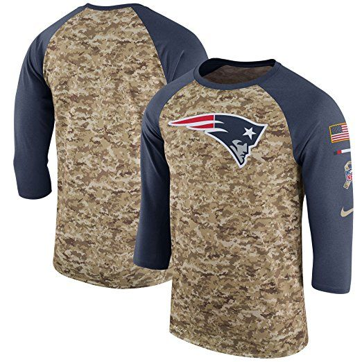 9f982786413 Men s New England Patriots Nike CamoAnthracite Salute to Service Sideline  Legend Performance Three-Quarter Sleeve T-Shirt Size - L