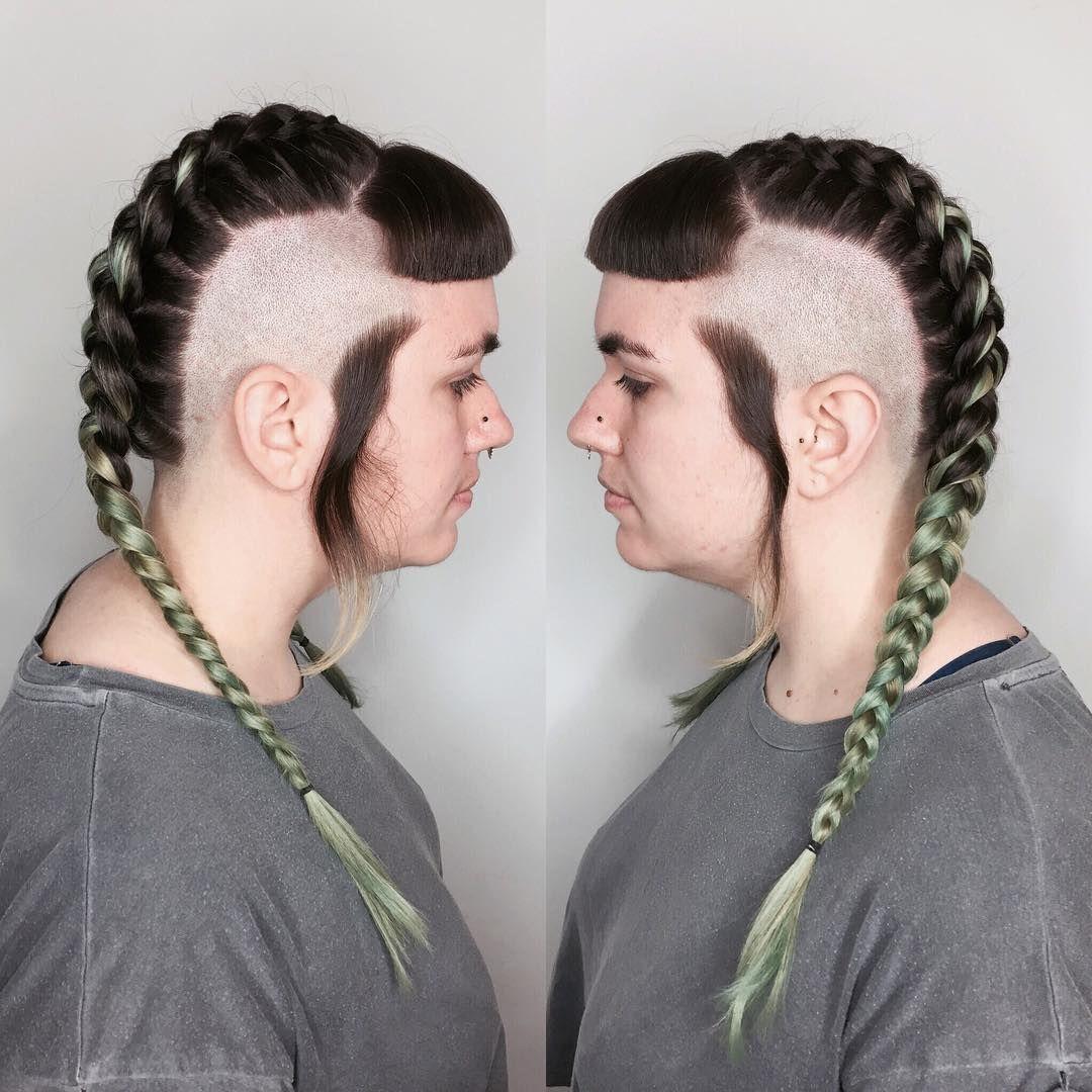 Chelseacut with mohawk braid shaved sides viking hair short