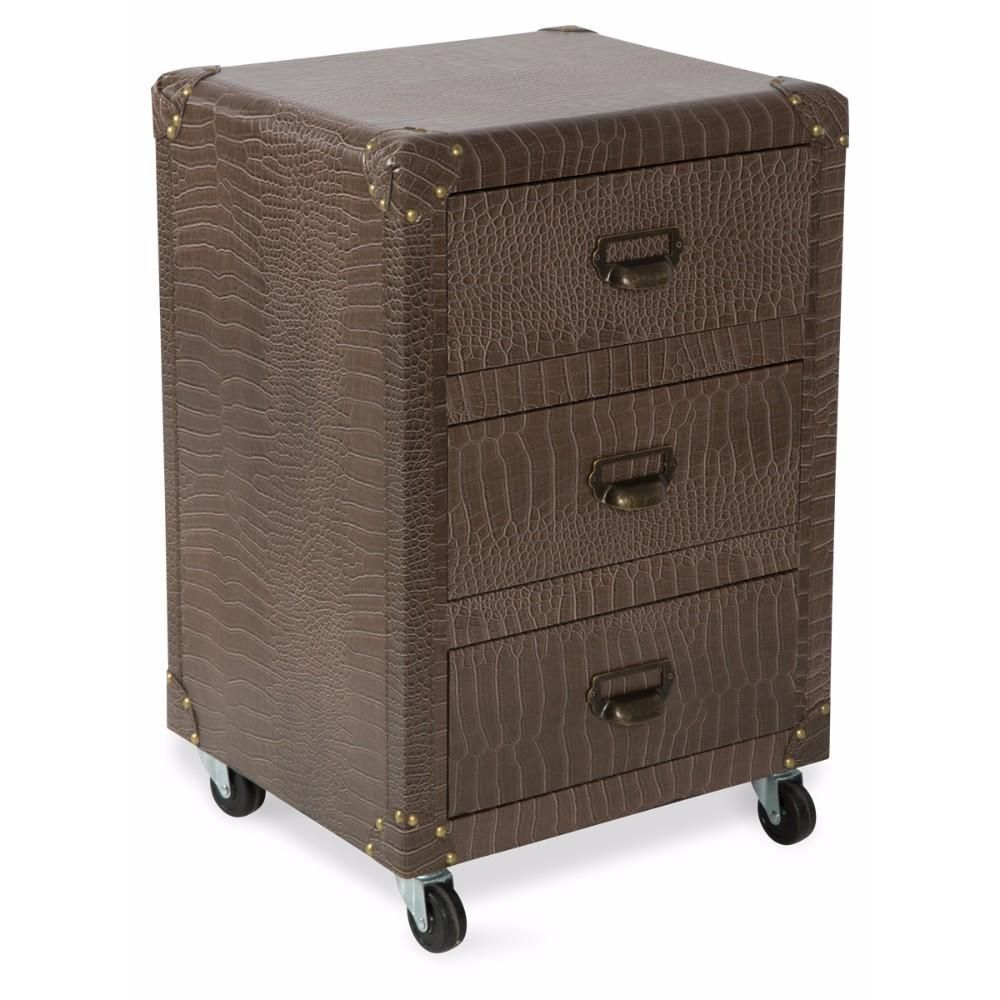 Best New York 3 Drawer Bedside Table Faux Crocodile Leather 400 x 300